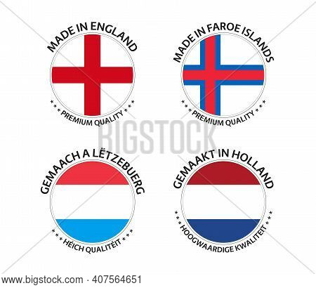 Set Of Four English, Faroe Islands, Luxembourgish And Dutch Stickers. Made In England, Made In Faroe