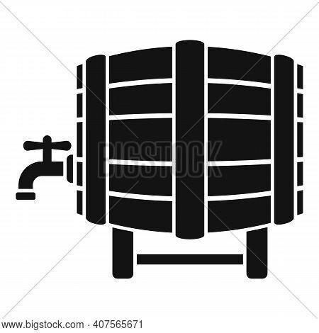 Wine Barrel Icon. Simple Illustration Of Wine Barrel Vector Icon For Web Design Isolated On White Ba