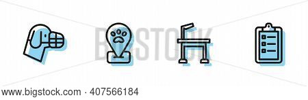 Set Line Pet Grooming Table, Dog Muzzle, Location Pet And Grooming Salon Price List Icon. Vector