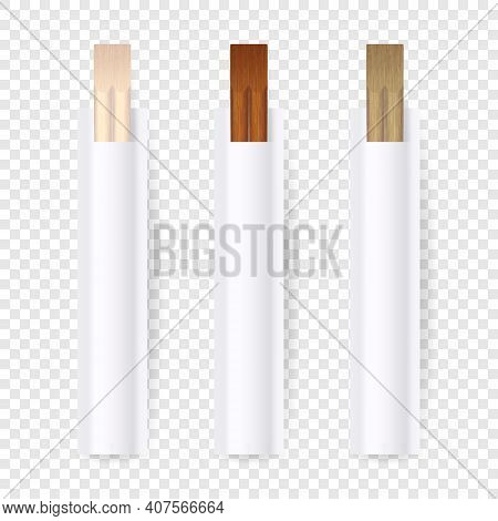 Vector 3d Realistic Wooden Chopsticks, White Blank Package Set Closeup Isolated On Transparent Backg