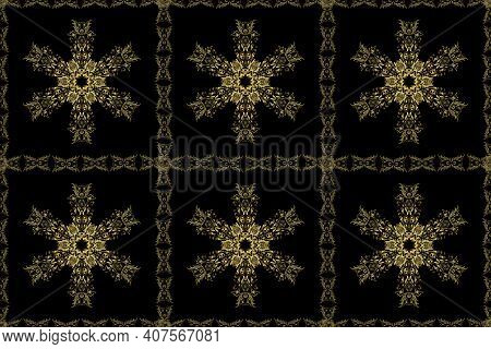 Christmas, Snowflake, New Year. Seamless Vintage Pattern On Black And Neutral Colors With Golden Ele