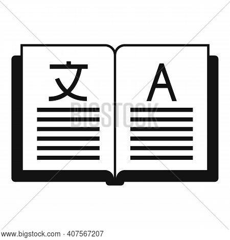 Open Book Translator Icon. Simple Illustration Of Open Book Translator Vector Icon For Web Design Is