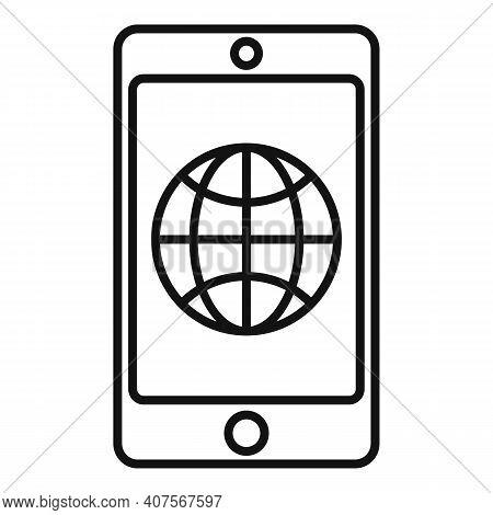 Smartphone Translator Icon. Outline Smartphone Translator Vector Icon For Web Design Isolated On Whi