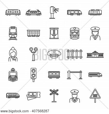 Electric Train Driver Subway Icons Set. Outline Set Of Electric Train Driver Subway Vector Icons For