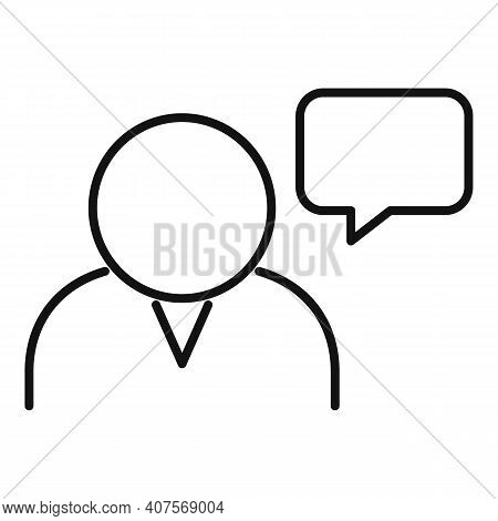 Announcer Chat Icon. Outline Announcer Chat Vector Icon For Web Design Isolated On White Background