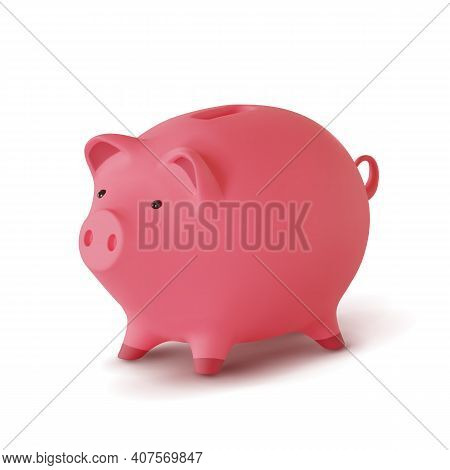 3d Realistic Moneybox In The Form Of A Pig Isolated On White Background, Vector