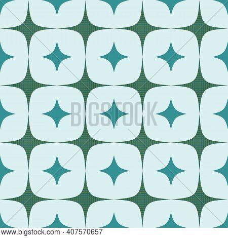 Mid Century Blue Abstract Diamond Seamless Pattern