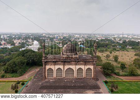 Vijayapura, Karnataka, India - November 8, 2013: Gol Gambaz Mausoleum. Aerial View From Top On Majhi
