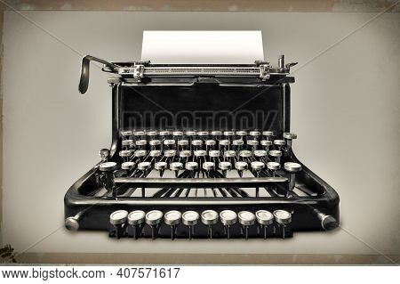 Vintage Typewriter With Copy Space Against Grey