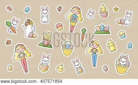 Set Of Cute Kawaii Easter Cartoon Characters. Easter Bunny, Chick, Flower, Girl And Basket Of Easter