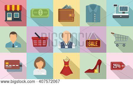 Shop Assistant Icons Set. Flat Set Of Shop Assistant Vector Icons For Web Design