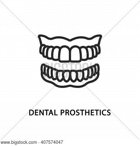 False Jaw Flat Line Icon. Vector Illustration Dental Prosthetics. Denture Symbol