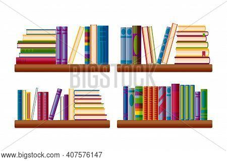 Bookcase Shelves Set. Bestseller Books Stack In Cartoon Style. Vector Illustration Isolated On White