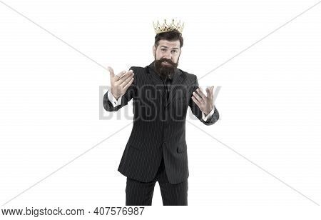 Preference Concept. Royal Reputation. Power And Influence. Business King. Businessman Wear Crown. Bu