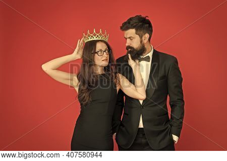 It Is Narcissism. Beauty Queen And Bearded Man. Egoistic Pride. Couple In Love Red Background. Pride