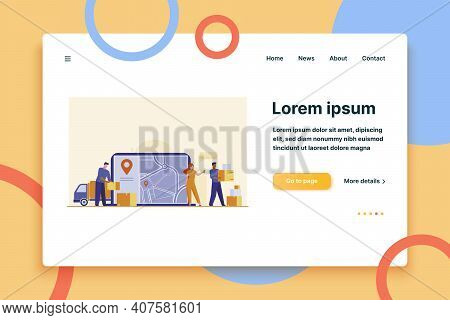 Online Order Delivery. Courier Unloading Van, Carrying Boxes Near City Map With Pointer Flat Vector