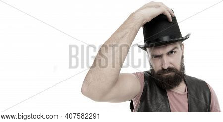 Magician Circus Worker. Man Bearded Guy Magician. Magician Character. Magician Trick Performance Con