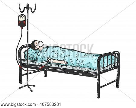 Coronavirus Patient. Sick Lies With Intravenous Saline Solution.