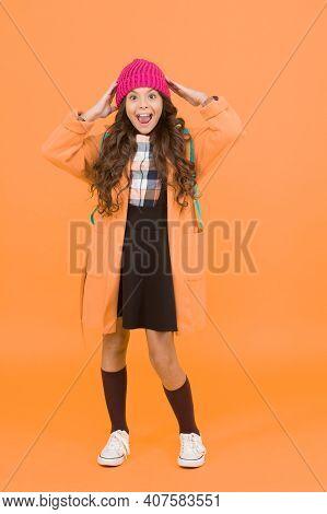 Fashion For Enjoying School Life To Fullest. Happy Child Wear Fashion Style Yellow Background. Fashi