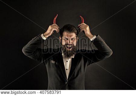 Devil Inside. Hot As Hell. Handsome Macho Likes Taste. Man Hold Pepper Harvest. Red Horns. Stubborn