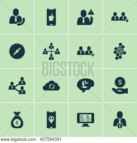 Teamwork Icons Set With Online Team, Team Honeycomb, Team Structure And Other Communication Elements