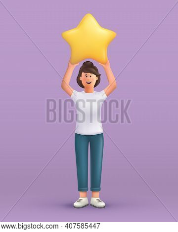 3d Cartoon Character. Young Woman Holding Star. Customer Review Rating And Client Feedback Concept.