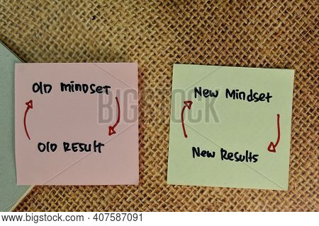 Old Mindset - Old Result And New Mindset - New Results Write On Sticky Notes Isolated On Wooden Tabl