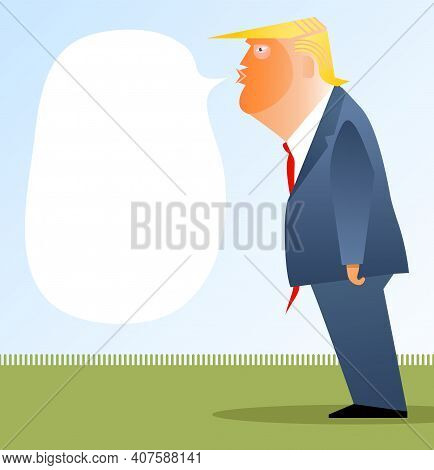 Asheville, Nc, Usa, February 10, 2021. Cartoon Caricature Portrait Of Donald Trump Standing And Spea