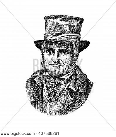 Old Man In A Vintage Suit. Poor Peasant In A Hat. Victorian Era Character, Antique Style. Engraved S