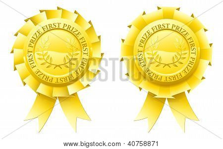 Two gold first prize rosettes with winner's laurel wreaths in the centre poster