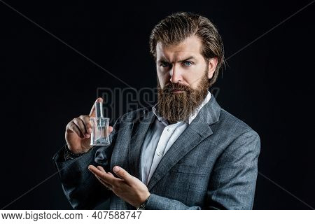 Perfume Or Cologne Bottle And Perfumery, Cosmetics, Scent Cologne Bottle, Male Holding Cologne. Masc