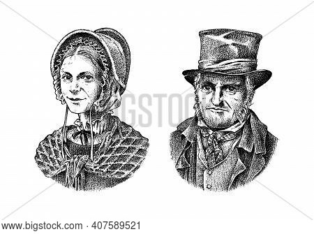 Old Man And Woman In A Vintage Suit. Poor Peasant In A Hat. Victorian Era Character, Antique Style.