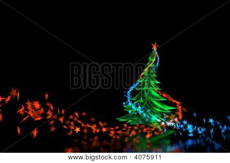 3D Neon Light Christmas Tree! Isolated On Black