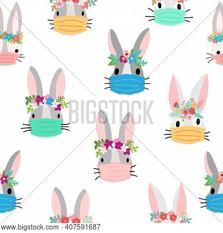 Easter Rabbit Coronavirus Seamless Vector Pattern. Repeating Covid Pandemic Easter Bunny With Face M