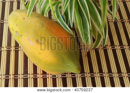 die Reife Papaya auf Bambus