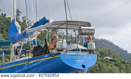 Airlie Beach, Queensland, Australia - February 2021: A Luxury Yacht With Blue Hull In Dry Dock For R