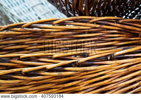 The Structure Of Weaving A Basket Of Willow Twigs, A Background Of Willow Twigs