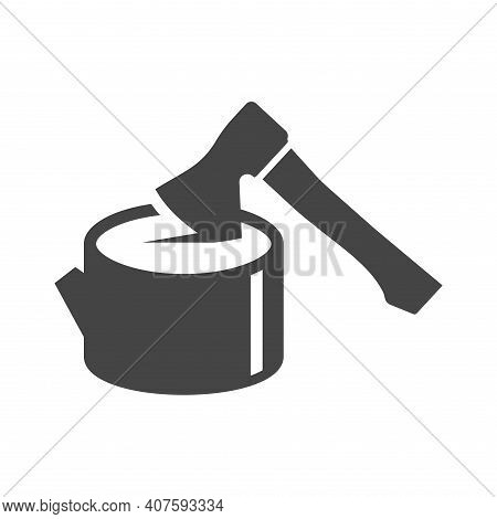 Hand Hatchet Of Woodsman Bold Black Silhouette Icon Isolated On White. Ax Sticks Out In Tree Stub.