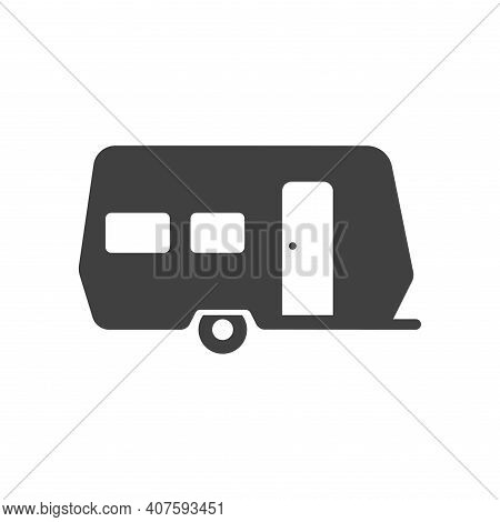 Camping, Travel Or Camper Trailer, Caravan Bold Black Silhouette Icon Isolated On White. Campervan.