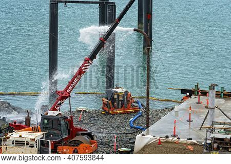Airlie Beach, Queensland, Australia - February 2021: Pumping Water At The Industrial Site With Equip