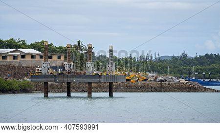 Airlie Beach, Queensland, Australia - February 2021: Industrial Platform Beginning Construction Of H