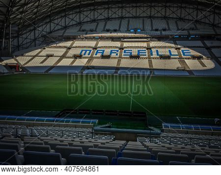 Marseille, France, Sept 2019, View Of Indoor The Stade Vélodrome Also Known As The Orange Vélodrome