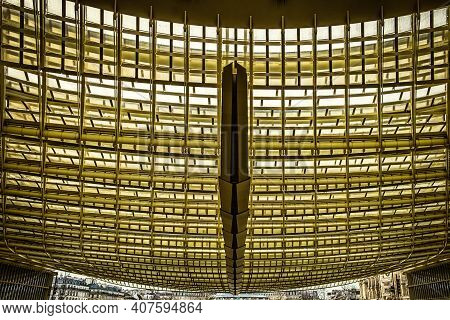 Paris, France, Fev 2020, Close Up Of The Westfield Forum Des Halles Ceiling