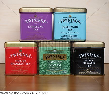 London, Uk - Circa February 2021: Boxes Of Twinings Loose Tea Including Darjeeling, Queen Mary, Engl