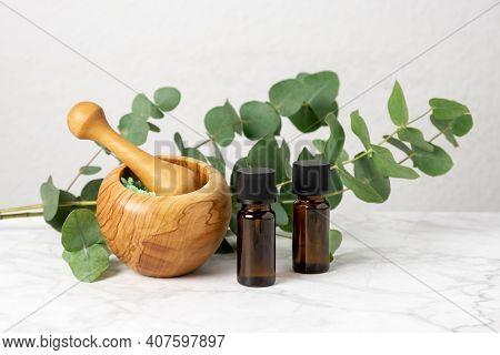 Natural Aromatherapy With Eucalyptus Essential Oil In Bottles, Aromatic Bath Salt And Eucalyptus Bra