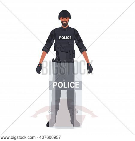 Policeman In Full Tactical Gear Riot Police Officer With Shield Protesters And Demonstration Riots M