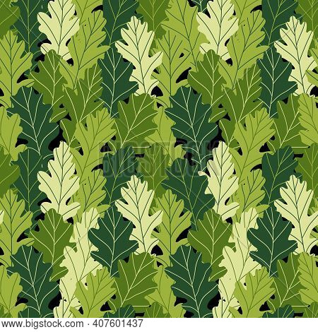 Floral Seamless Pattern With Colorful Exotic Leaves On Black Background. Tropic Green Oak Branches.