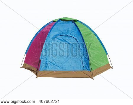 Camping Tent Or Tourist Tent Isolated On White Background Or Hikking Journey With Camp Vacation In E
