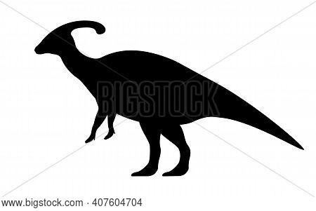 Parasaurolophus Silhouette. Vector Illustration Black Silhouette Parasaurolophus Dinosaur Isolated O