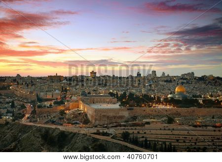 View to Jerusalem old city. Israel poster